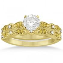Yellow Sapphire & Diamond Marquise Bridal Set 18k Yellow Gold (0.49ct)