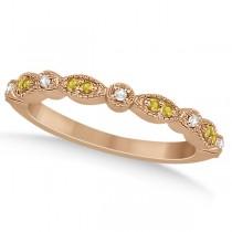 Yellow Sapphire & Diamond Marquise Wedding Band 14k Rose Gold 0.25ct