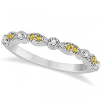 Yellow Sapphire & Diamond Marquise Wedding Band 14k White Gold 0.25ct