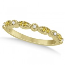 Yellow Sapphire & Diamond Marquise Wedding Band 14k Yellow Gold 0.25ct