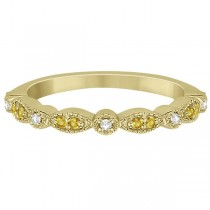 Yellow Sapphire & Diamond Marquise Wedding Band 14k Yellow Gold 0.25ct