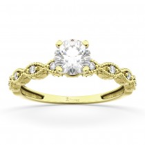 Petite Marquise Diamond Engagement Ring 18k Yellow Gold (0.10ct)