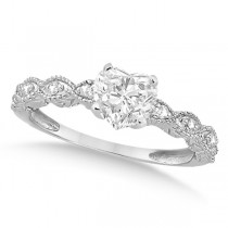 Heart-Cut Antique Diamond Engagement Ring in 14k White Gold (0.75ct)