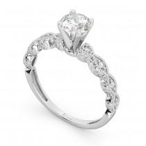 Petite Antique-Design Diamond Engagement Ring 14k White Gold (1.00ct)