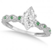 Marquise Antique Diamond & Emerald Engagement Ring 14k W Gold (1.50ct)