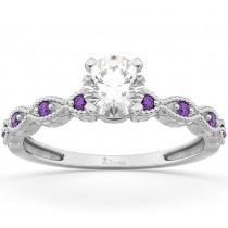 Vintage Diamond & Amethyst Engagement Ring 14k White Gold 1.50ct