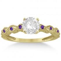 Vintage Diamond & Amethyst Engagement Ring 14k Yellow Gold 1.50ct