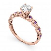 Vintage Diamond & Amethyst Engagement Ring 18k Rose Gold 0.75ct