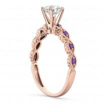 Vintage Diamond & Amethyst Engagement Ring 18k Rose Gold 1.00ct
