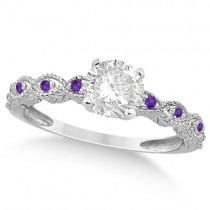 Vintage Diamond & Amethyst Engagement Ring 18k White Gold 0.50ct