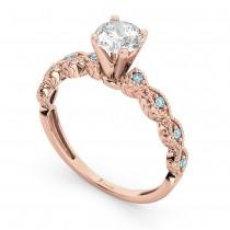 Vintage Diamond & Aquamarine Engagement Ring 14k Rose Gold 0.50ct