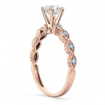 Vintage Diamond & Aquamarine Engagement Ring 14k Rose Gold 1.00ct