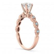 Vintage Diamond & Aquamarine Engagement Ring 18k Rose Gold 0.50ct