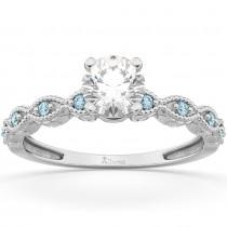 Vintage Diamond & Aquamarine Engagement Ring 18k White Gold 0.50ct