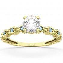 Vintage Diamond & Aquamarine Engagement Ring 18k Yellow Gold 0.50ct