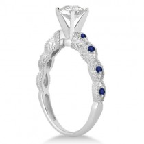 Vintage Diamond & Blue Sapphire Engagement Ring 14k White Gold 0.75ct