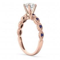 Vintage Diamond & Blue Sapphire Engagement Ring 18k Rose Gold 1.50ct