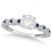 Vintage Diamond & Blue Sapphire Engagement Ring 18k White Gold 0.75ct