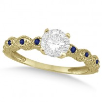 Vintage Diamond & Blue Sapphire Engagement Ring 18k Yellow Gold 0.75ct