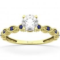 Vintage Diamond & Blue Sapphire Engagement Ring 18k Yellow Gold 1.50ct