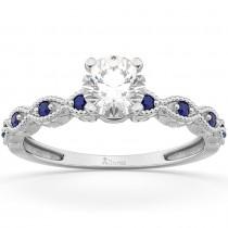 Vintage Lab Grown Diamond & Blue Sapphire Engagement Ring 14k White Gold 0.75ct