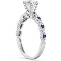 Vintage Diamond & Blue Sapphire Engagement Ring Palladium 0.50ct