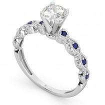 Vintage Diamond & Blue Sapphire Engagement Ring Platinum 0.50ct
