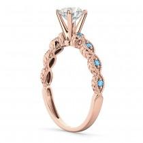 Vintage Diamond & Blue Topaz Engagement Ring 14k Rose Gold 0.75ct