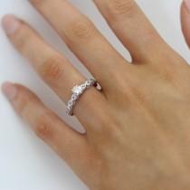 Vintage Diamond & Blue Topaz Engagement Ring 14k White Gold 0.50ct