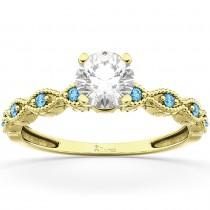 Vintage Diamond & Blue Topaz Engagement Ring 14k Yellow Gold 0.75ct
