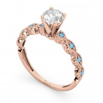 Vintage Diamond & Blue Topaz Engagement Ring 18k Rose Gold 0.50ct