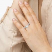 Vintage Diamond & Blue Topaz Engagement Ring 18k White Gold 0.75ct