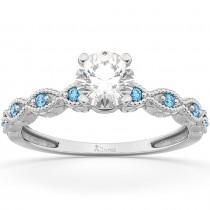 Vintage Diamond & Blue Topaz Engagement Ring 18k White Gold 1.50ct