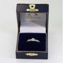 Vintage Diamond & Blue Topaz Engagement Ring Platinum 0.50ct