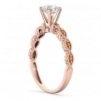 Vintage Diamond & Citrine Engagement Ring 14k Rose Gold 0.75ct