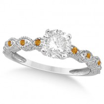 Vintage Diamond & Citrine Engagement Ring 14k White Gold 0.50ct