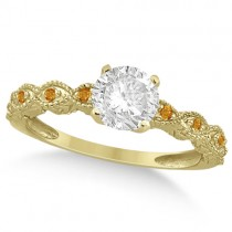 Vintage Diamond & Citrine Engagement Ring 14k Yellow Gold 0.50ct