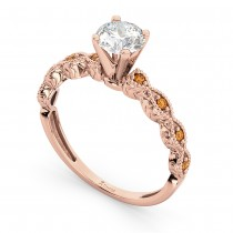 Vintage Diamond & Citrine Engagement Ring 18k Rose Gold 0.50ct