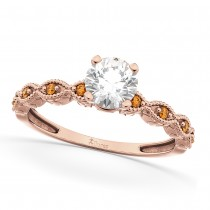 Vintage Diamond & Citrine Engagement Ring 18k Rose Gold 0.75ct