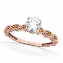 Vintage Diamond & Citrine Engagement Ring 18k Rose Gold 1.00ct