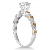 Vintage Diamond & Citrine Engagement Ring 18k White Gold 0.50ct