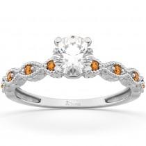 Vintage Diamond & Citrine Engagement Ring 18k White Gold 1.00ct