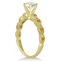 Vintage Diamond & Citrine Engagement Ring 18k Yellow Gold 0.50ct
