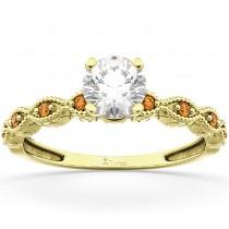 Vintage Diamond & Citrine Engagement Ring 18k Yellow Gold 0.75ct