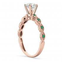 Vintage Diamond & Emerald Engagement Ring 14k Rose Gold 0.50ct