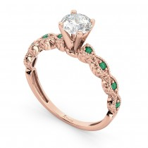 Vintage Diamond & Emerald Engagement Ring 14k Rose Gold 0.75ct