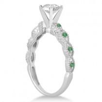 Vintage Diamond & Emerald Engagement Ring 14k White Gold 1.00ct