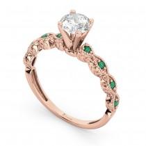 Vintage Diamond & Emerald Engagement Ring 18k Rose Gold 0.75ct
