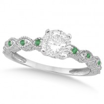 Vintage Diamond & Emerald Engagement Ring 18k White Gold 0.75ct