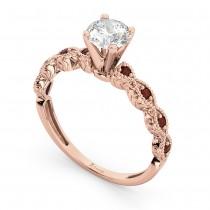 Vintage Diamond & Garnet Engagement Ring 14k Rose Gold 1.50ct
